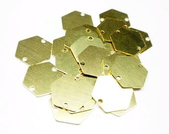 Lot of 10 hexagon connectors, in brass gilded, 2 holes, 12 mm