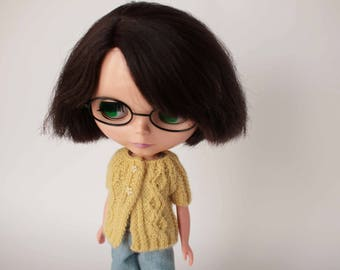 Yellow Blythe doll cardigan, Yellow short sweater, Pastel Yellow clothes, Blythe doll knitted jumper, Collectible doll outfit, Blythe luxury