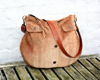 Beautifull Brown Handmade Recycled Suede Bag, Hobo Bag, Leather Bag, Leather Tote, Leather Handbag, Reused Leather Bag, OOAK Bag