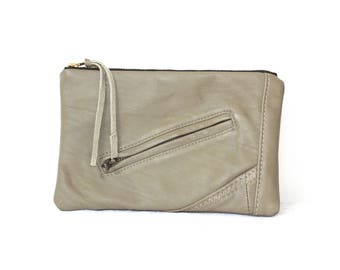 Grey/Green Pouch, Recycled Leather Cosmetic Bag, Leather Bag, Clutch, Leather Bag, Cosmetic Pouch, Pouch, Cosmetic Bag