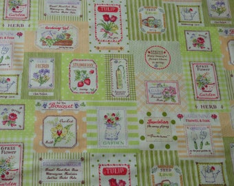 Yuwa style label patch with various green tones flower pattern fabric coupon