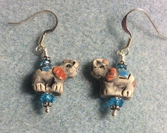 Small grey, pink, and turquoise ceramic elephant bead earrings adorned with turquoise Chinese crystal beads.