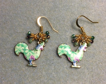 Aqua and violet enamel rooster charm earrings adorned with tiny dangling aqua and violet Chinese crystal beads.