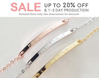 Personalized Gold bracelet Friendship Bracelet Charm Bracelets personalized wedding - 1BR