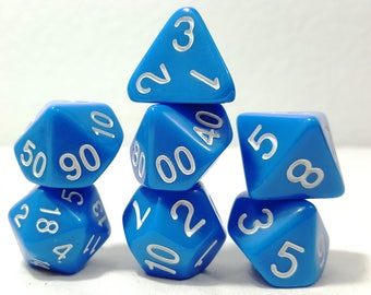 Perfect Plastic Dice - Gloss Polish with Ink - Blue / White Ink