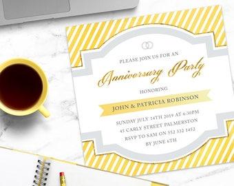 Anniversary Party Invitation / Adult Birthday Party Invitation / Printable Invitation / Engagement Party Invitation