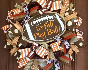 Sale Football Wreath, It's Fall Play Ball Wreath, Fall Football Wreath, Fall Wreath, Burlap Fall Wreath, Burlap Football Thanksgiving Wreath