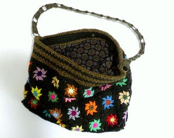 Bag crochet khaki Tan and multicolored flowers