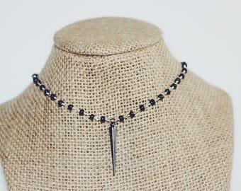 Gunmetal Choker Point Necklace