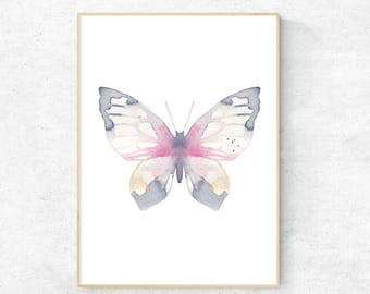 Rose and Grey Butterfly Watercolour Print