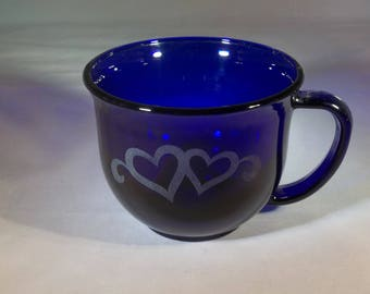 A pair of cobalt blue coffee cups