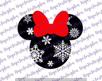 Snowflake Minnie SVG | Minnie Mouse SVG | Christmas Minnie Mouse | Disney svg