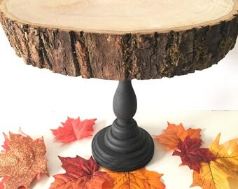 "Wooden Cake Stand 7-10"", Cupcake Stand, Round Wood Tree Slab, Party Decor, Dessert Table Decor,Dessert Holder, Rustic Wedding Cake Stand"