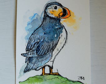 Unique Hand-painted Puffin - Ink and Watercolour