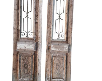 Pair Antique French Doors Large Architectural Iron Grill Doors Pair Mediterranean Rustic Farmhouse Doors Shabby French  sc 1 st  Etsy & Farmhouse door | Etsy pezcame.com