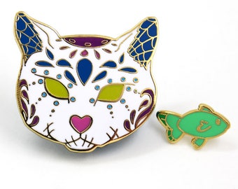 Halloween Pin Set, Sugar Skull Cat, Sugar Skull Pin Set, Christmas Gift, Stocking Stuffer, Hard Enamel Pin, Enamel Pin Set, Cat Enamel Pin