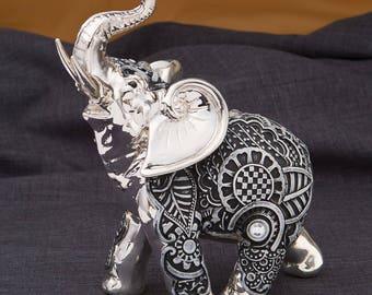 Elephant statue etsy Silver elephant home decor