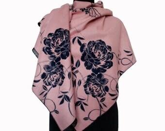 Pink Floral Scarf, Beautiful Pink Shawl, Winter Large Pashmina, Fashion Shawl, Floral Boho Shawl, Women Fall Scarf, Girlfriend Gift