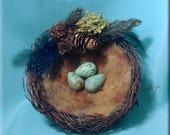 Decorative Bird Nest with Ceramic Redwing Thrush Eggs - 5 inches