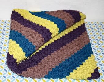 Plaid striped C2C crochet