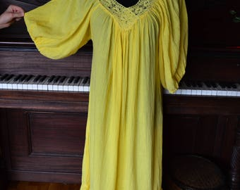 Vintage yellow bohemian festival gauzy coton dress