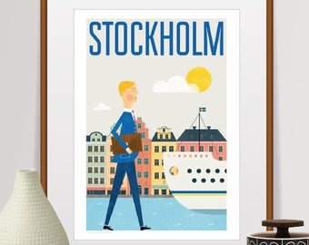 stockholm print, stockholm poster, stockholm, stockholm art, travel poster, wall art, sweden, stockholm skyline, art print, city prints