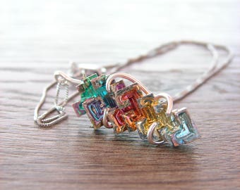 Raw Crystal Necklace, Chakra Rainbow Bismuth Pendant, Raw Element Jewelry for Her, Yoga Yogi Gift, Metaphysical Jewelry, Birthday for Sister