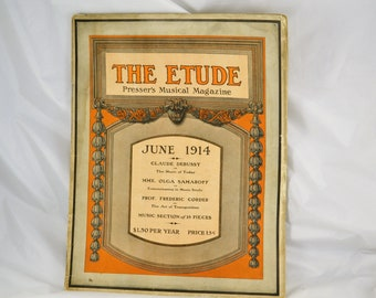 THE ETUDE Music Magazine 1914 Antique Magazine _ Sheet Music - Era Advertising - Reviews & Instruction - Piano