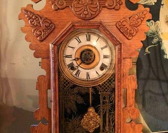 Vintage Clock, Gingerbread Shelf Clock, Mantel Clock