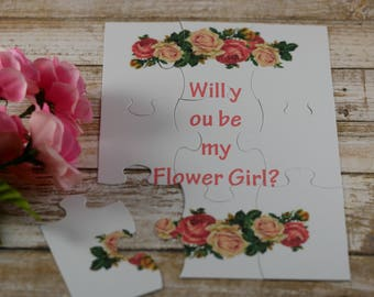 Puzzle will you be my flower card,  Proposal card, Flower girl puzzle invitation
