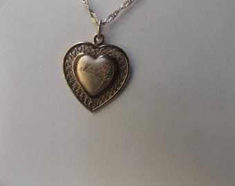Sterling Gold Vermil plated heart pendant