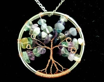Rainbow Fluorite Gemstone Tree of Life Rose Gold Pendant