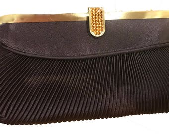 New Chocolate Brown Pleated Satin With Gold and Amber Rhinestone Closur Clutch Evening Bag