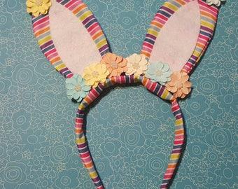 Rainbow stripe kids bunny ears
