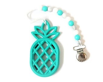 Turquoise Pineapple Pacifier Clip I Pineapple Teether I Pineapple Pacifier Clip I Teething Toy I Pacifier Clip