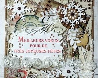 Card double Christmas, new year's Eve, handmade, vintage, shabby, 3D.