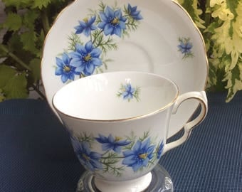 Queen Anne by Ridgway 7878 with Blue Flowers Bone China Cup and Saucer - Made in England