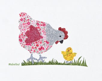 """Applied fusible Liberty: """"Mother hen and her chick"""""""