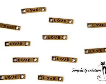 """bronze double spacer connector,""""love"""" 4 x 20 mm set of 4"""