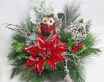 Rustic Christmas Centerpiece, Christmas Centerpiece, Holiday Christmas Owl, Red and Black Plaid Arrangement