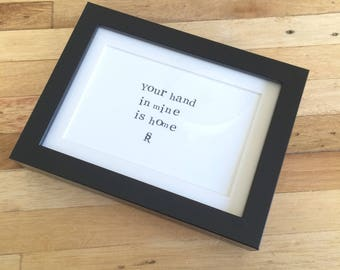 Framed poem - Home 15x20 cm