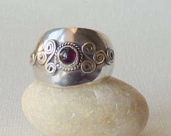 Sterling Domed Garnet Band Ring Size 8.5 Silver Wide Garnet Ring, Retro Sterling Silver Garnet Band Ring, Boho 925 Sterling Vintage Jewelry