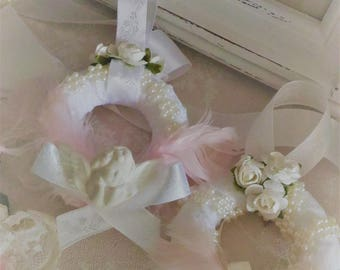 Duo of small wreaths Christmas Shabby chic