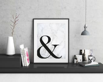 Ampersand Symbol Print / Typography Print / Ampersand Wall Art / And Symbol Poster / Black and Marble / Minimal Print