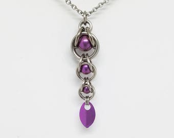 Magenta Pink Captured Titanium Ball Chainmaille Stainless Steel Pendant with Tiny Titanium Magenta Pink Scale Burple