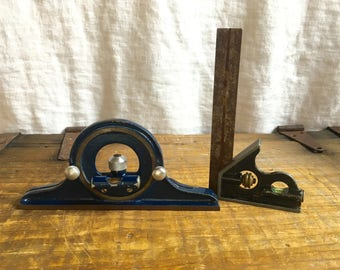 Vintage Leveling Squaring Tools Devices 2, 6 inch Mayes Brothers Toll MFG CO Combination Square & TUMICO Machinist All Angle Level Gauge