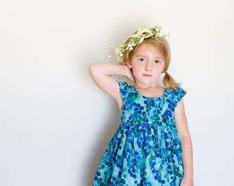 Girls Dress: into the woods. spring dress. blue dress