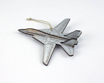 Wooden F-14 Fighter Jet Christmas Ornament