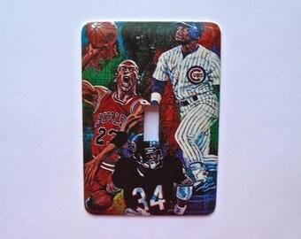 Decorative Single Switch Plate ~ Sports Players, Light Switchplate, Switch Plate Cover, Home Decor