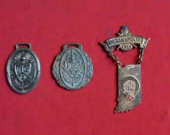 Antique Knights of Pythias rare 1911 Indianapolis medal plus 2 very old vintage fobs